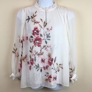 WHBM White Long Sleeve Pleated Floral Top Size 14